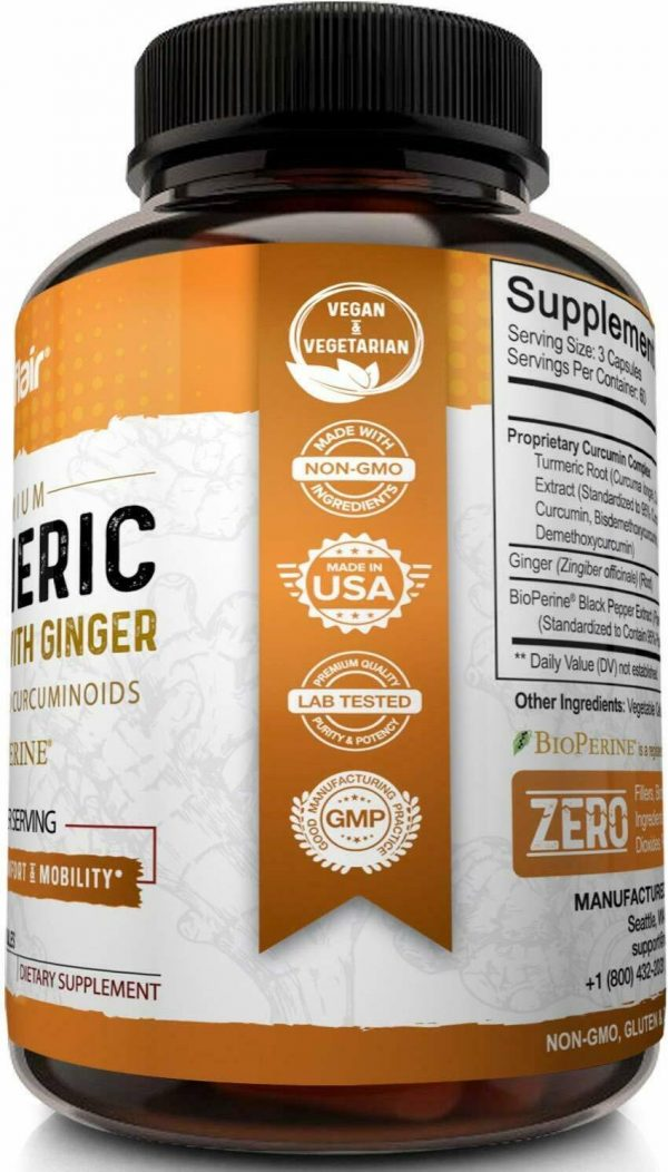 Turmeric Curcumin with Ginger & BioPerine Joint Pain 2250 mg Root 180 Capsules 2