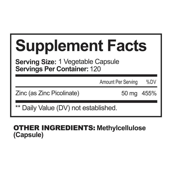 NutriFlair Zinc Picolinate 50mg, 120 Capsules - Immune System Booster & Support 6