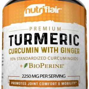 Turmeric Curcumin with Ginger & BioPerine Joint Pain 2250 mg Root 180 Capsules 1