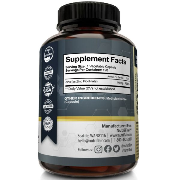 NutriFlair Zinc Picolinate 50mg, 120 Capsules - Immune System Booster & Support 5