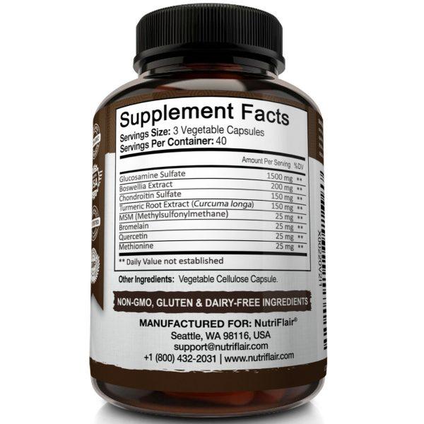 Glucosamine Chondroitin Turmeric & MSM 120 CAPSULES - Bones, Joint Support Pills 6