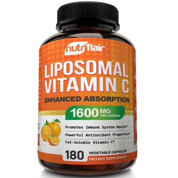 NutriFlair Liposomal Vitamin C 1600mg, 180 Capsules Fat Soluble Vit Supplements  2