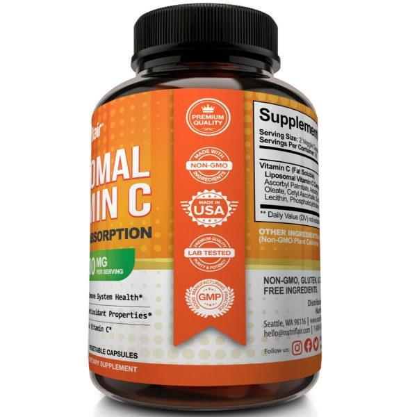 NutriFlair Liposomal Vitamin C 1600mg, 180 Capsules Fat Soluble Vit Supplements  3