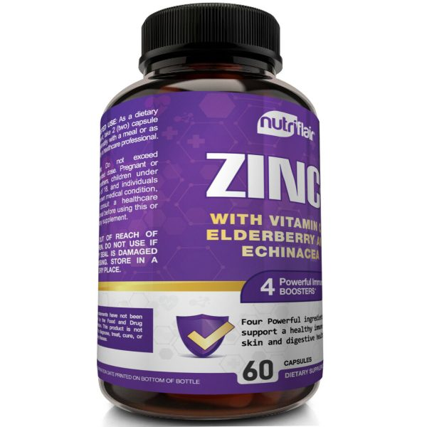 NutriFlair Zinc Plus - Zinc 50mg, Vitamin C, Elderberry, Echinacea - Immune Pill 3
