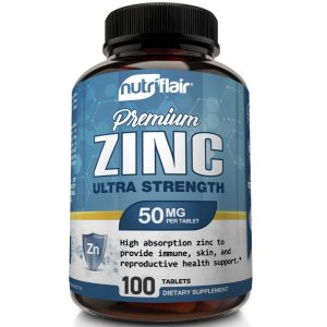 NutriFlair Zinc Gluconate 50mg, 100 Tablets - Immune System Booster & Support 1