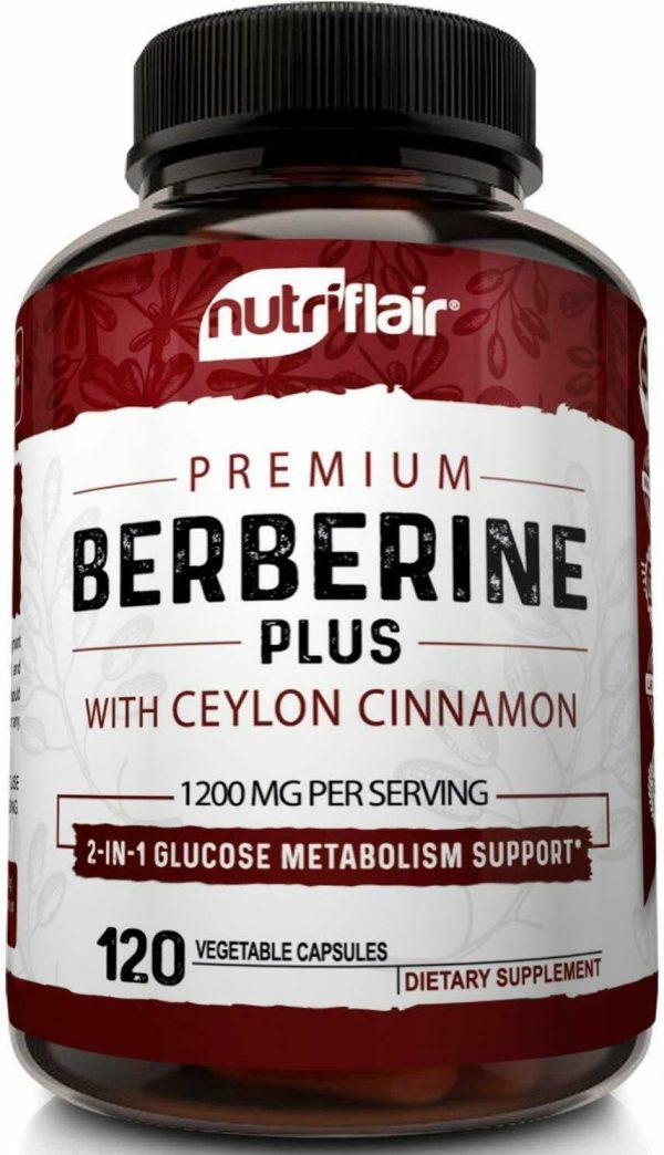 Premium Berberine HCL Pills 1200mg Plus Organic Ceylon Cinnamon - 120 Capsules 1