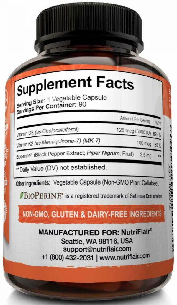 ☀ Vitamin K2 (MK7) with D3 5000 IU Supplement with BioPerine, 90 Veggie Capsules 7