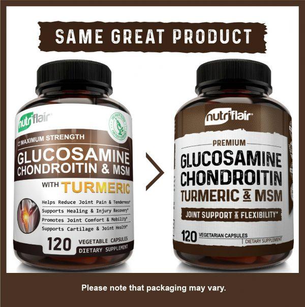 Glucosamine Chondroitin Turmeric & MSM 120 CAPSULES - Bones, Joint Support Pills 2