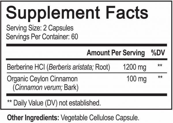 Premium Berberine HCL Pills 1200mg Plus Organic Ceylon Cinnamon - 120 Capsules 6