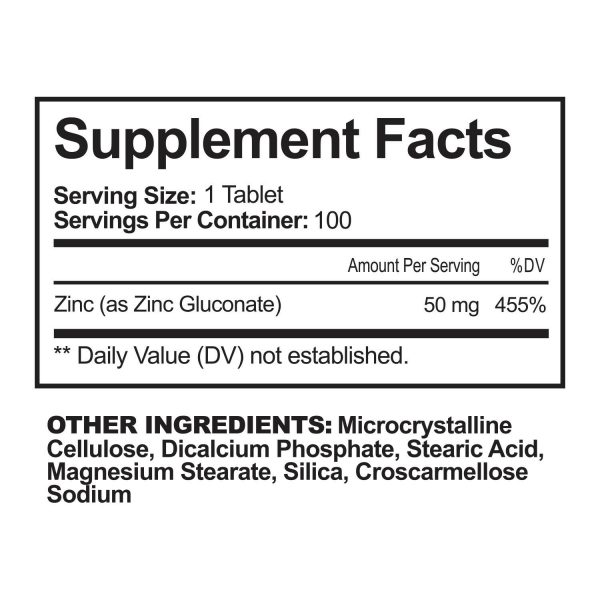 NutriFlair Zinc Gluconate 50mg, 100 Tablets - Immune System Booster & Support 6