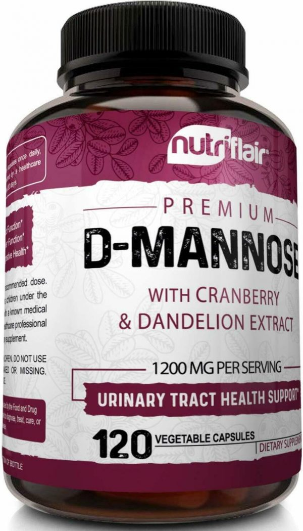D-Mannose 1200mg, 120 Capsules with Cranberry & Dandelion Extract - UTI Support 5