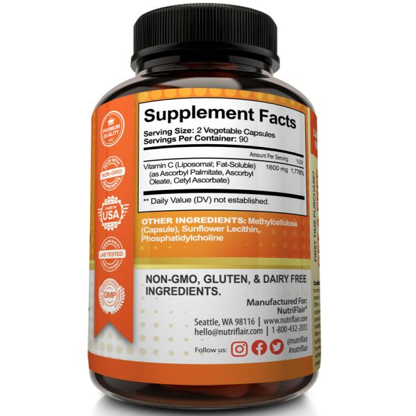 NutriFlair Liposomal Vitamin C 1600mg, 180 Capsules Fat Soluble Vit Supplements  6