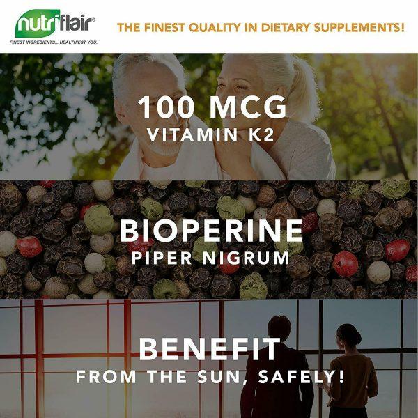 ☀ Vitamin K2 (MK7) with D3 5000 IU Supplement with BioPerine, 90 Veggie Capsules 1