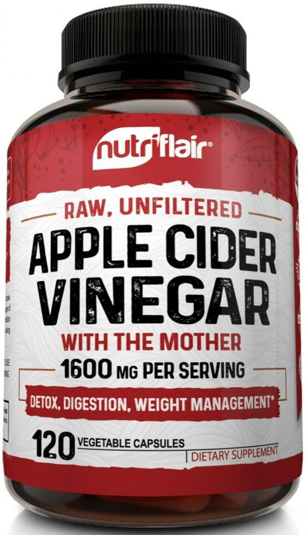 ▶ Apple Cider Vinegar Capsules - 1600mg with The Mother 120 Vegan Keto Pills 1