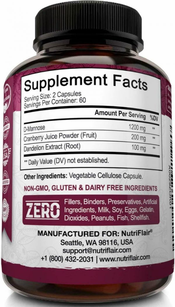 D-Mannose 1200mg, 120 Capsules with Cranberry & Dandelion Extract - UTI Support 6
