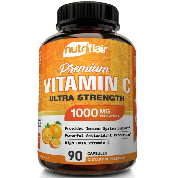 NutriFlair Pure Vitamin C 1000mg - 90 Capsules Immune Support High Dose Pills 3