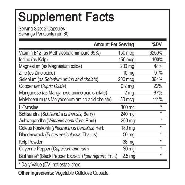 Thyroid Support with iodine, BioPerine, 120 Capsules - Natural Prostate Support 7