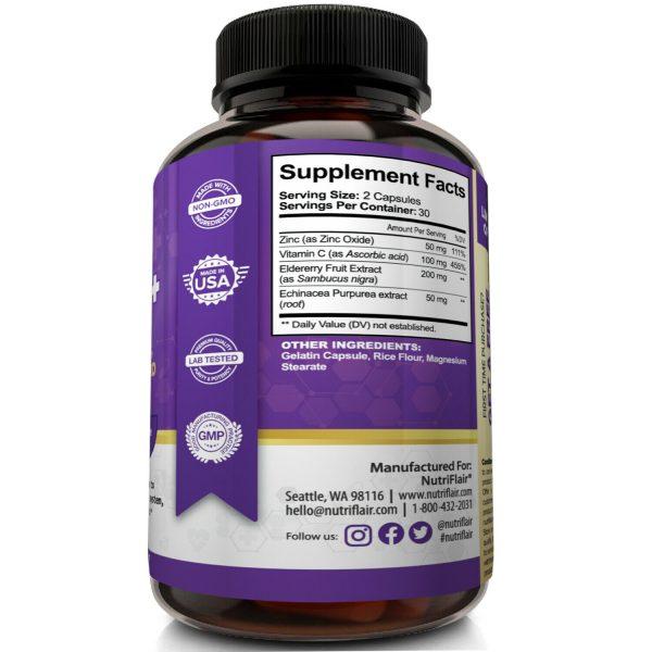 NutriFlair Zinc Plus - Zinc 50mg, Vitamin C, Elderberry, Echinacea - Immune Pill 5