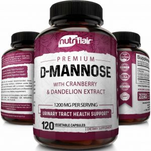 D-Mannose 1200mg, 120 Capsules with Cranberry & Dandelion Extract - UTI Support 1