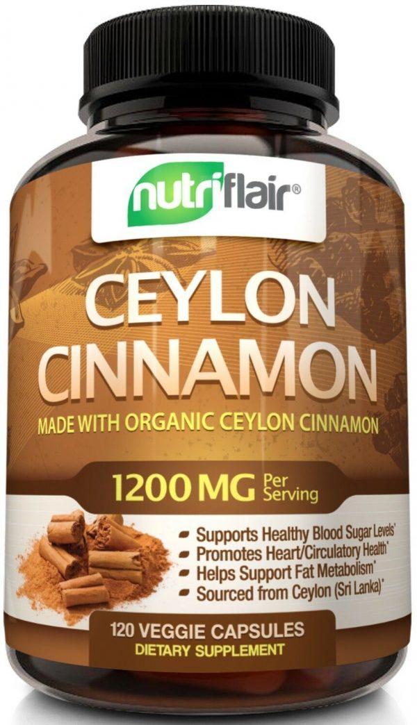☀ NutriFlair Ceylon Cinnamon Supplement Pills, 1200 mg / Serving, 120 Capsules 3