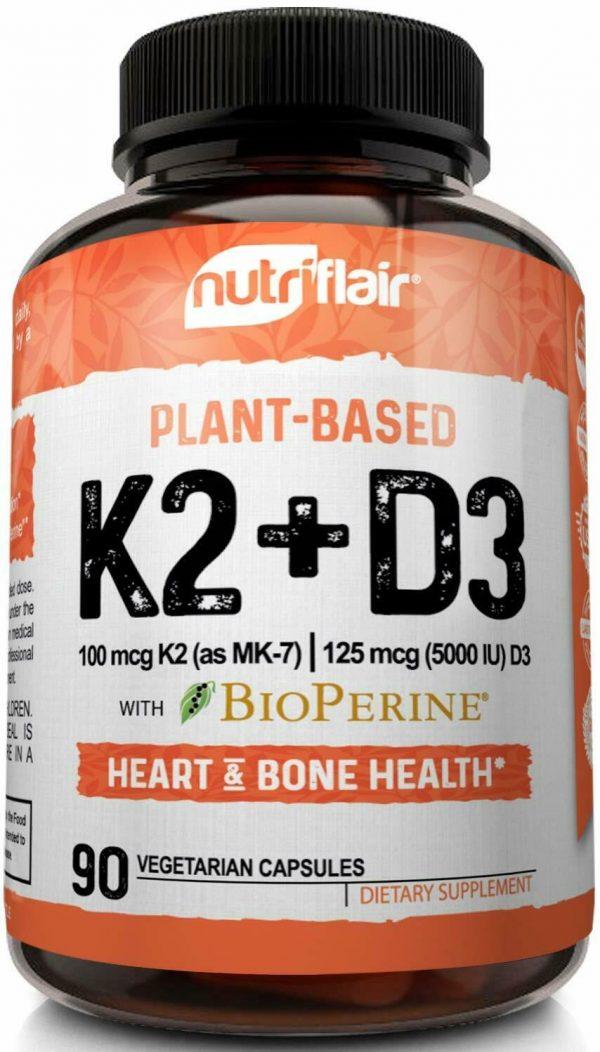 ☀ Vitamin K2 (MK7) with D3 5000 IU Supplement with BioPerine, 90 Veggie Capsules 2