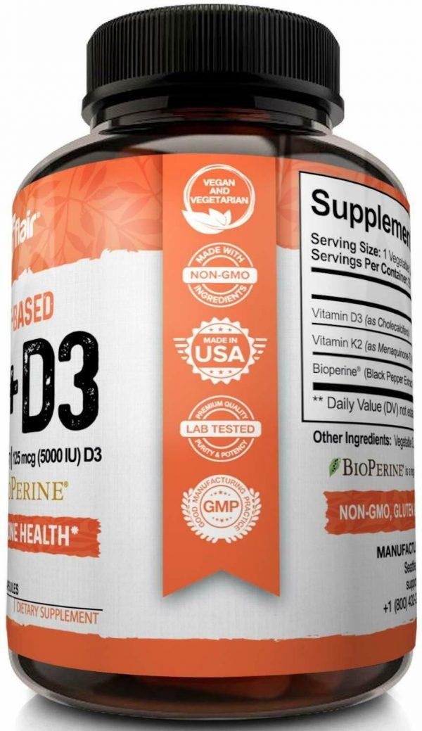 ☀ Vitamin K2 (MK7) with D3 5000 IU Supplement with BioPerine, 90 Veggie Capsules 4