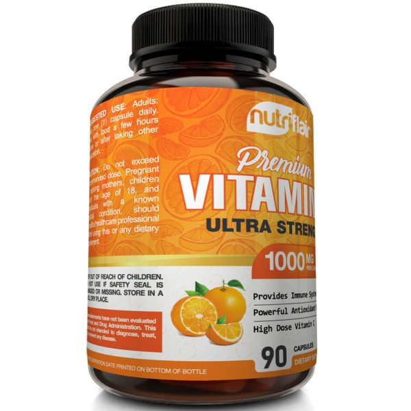 NutriFlair Pure Vitamin C 1000mg - 90 Capsules Immune Support High Dose Pills 2