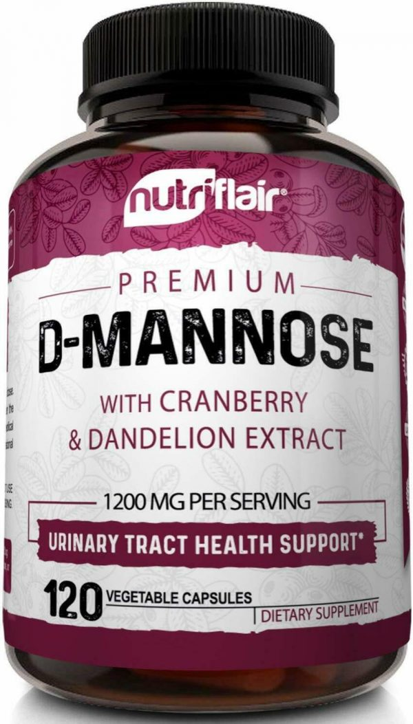 D-Mannose 1200mg, 120 Capsules with Cranberry & Dandelion Extract - UTI Support 3