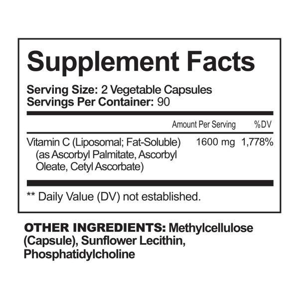 NutriFlair Liposomal Vitamin C 1600mg, 180 Capsules Fat Soluble Vit Supplements  7