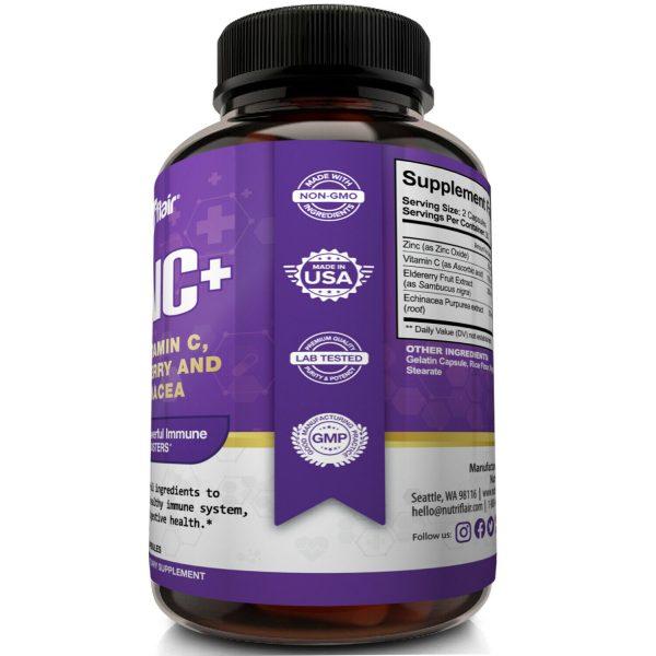 NutriFlair Zinc Plus - Zinc 50mg, Vitamin C, Elderberry, Echinacea - Immune Pill 2