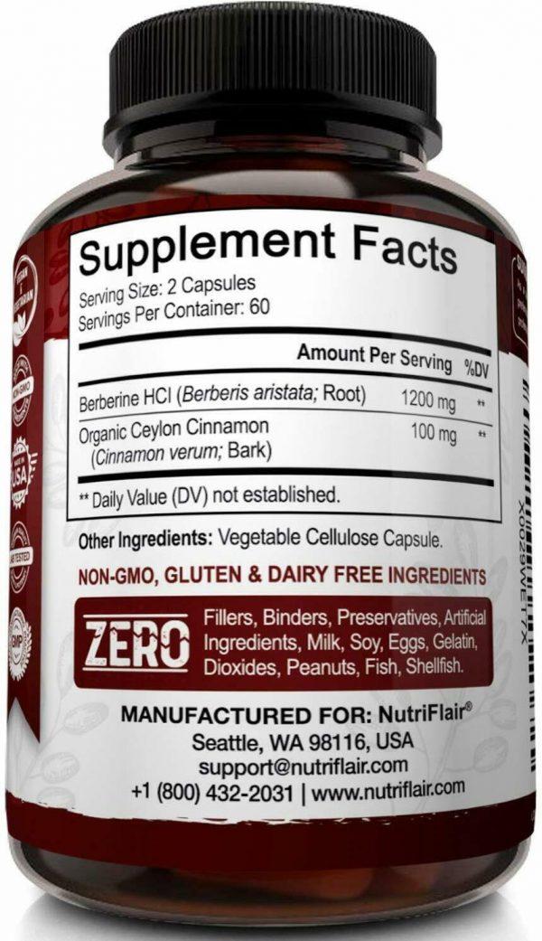 Premium Berberine HCL Pills 1200mg Plus Organic Ceylon Cinnamon - 120 Capsules 5