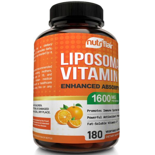 NutriFlair Liposomal Vitamin C 1600mg, 180 Capsules Fat Soluble Vit Supplements  5