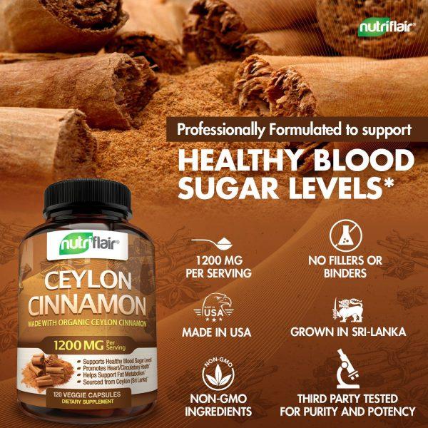 ☀ NutriFlair Ceylon Cinnamon Supplement Pills, 1200 mg / Serving, 120 Capsules 2
