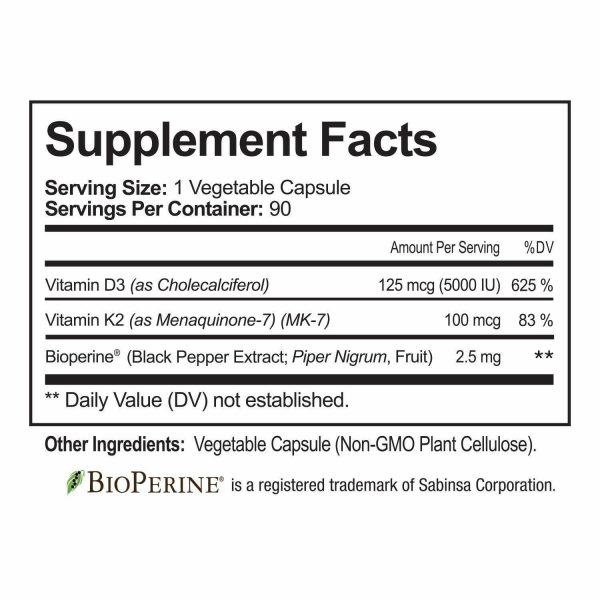 ☀ Vitamin K2 (MK7) with D3 5000 IU Supplement with BioPerine, 90 Veggie Capsules 3