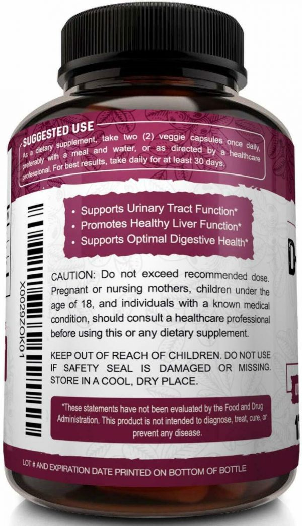 D-Mannose 1200mg, 120 Capsules with Cranberry & Dandelion Extract - UTI Support 7