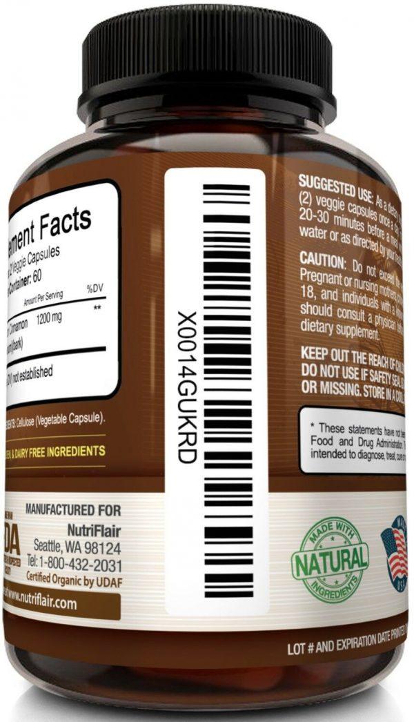 ☀ NutriFlair Ceylon Cinnamon Supplement Pills, 1200 mg / Serving, 120 Capsules 8