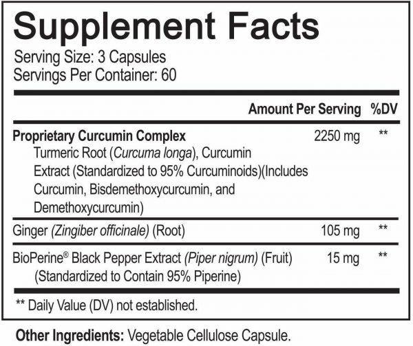 Turmeric Curcumin with Ginger & BioPerine Joint Pain 2250 mg Root 180 Capsules 6