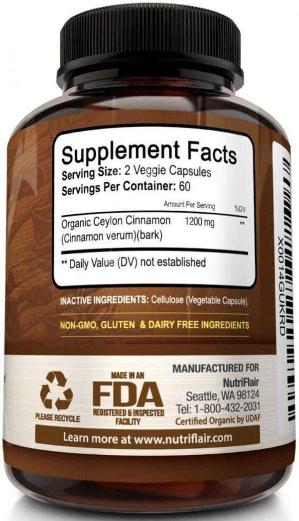 ☀ NutriFlair Ceylon Cinnamon Supplement Pills, 1200 mg / Serving, 120 Capsules 6