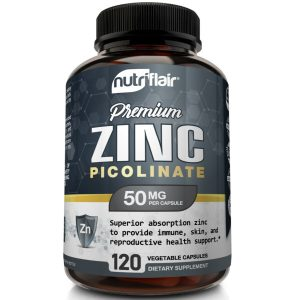 NutriFlair Zinc Picolinate 50mg, 120 Capsules - Immune System Booster & Support 1