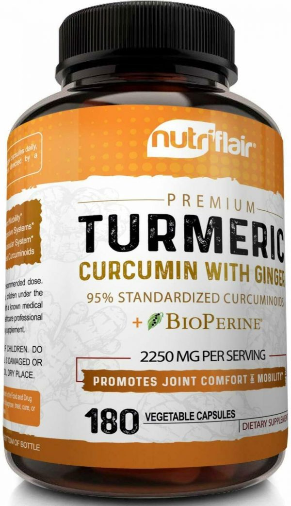 Turmeric Curcumin with Ginger & BioPerine Joint Pain 2250 mg Root 180 Capsules 3