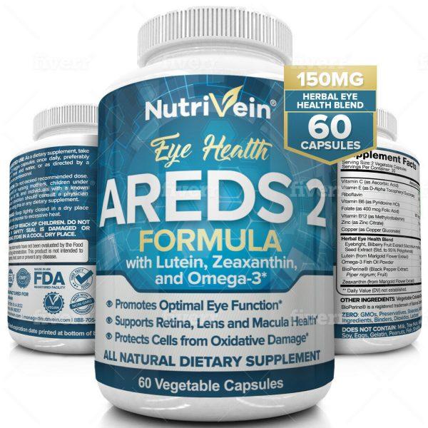 Nutrivein AREDS 2 Eye Vitamins - Supports Eye Strain Dry Eyes - Eye Health Boost