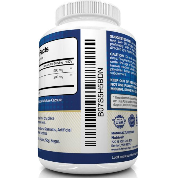 Nutrivein Premium Berberine HCL 1200mg Plus Organic Ceylon Cinnamon - 120 Pills 5