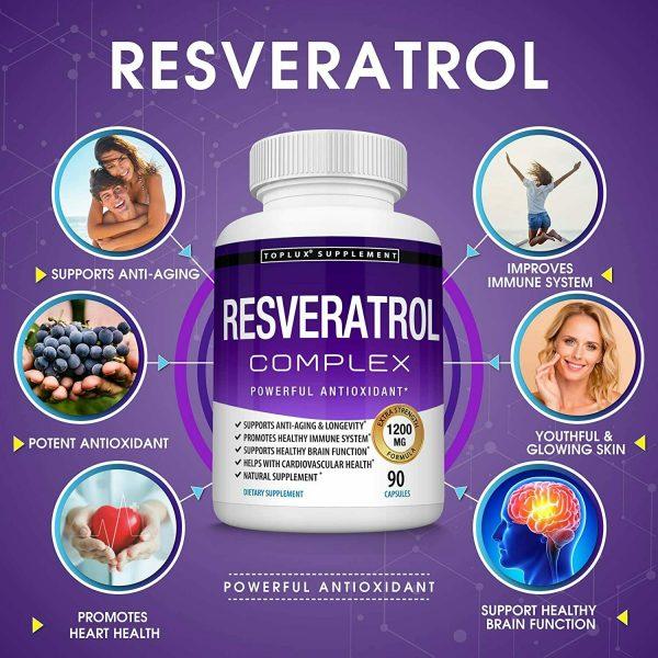 Resveratrol Maximum 1200 MG Strength Natural (90 CAPSULES) AntiAging Antioxidant 1