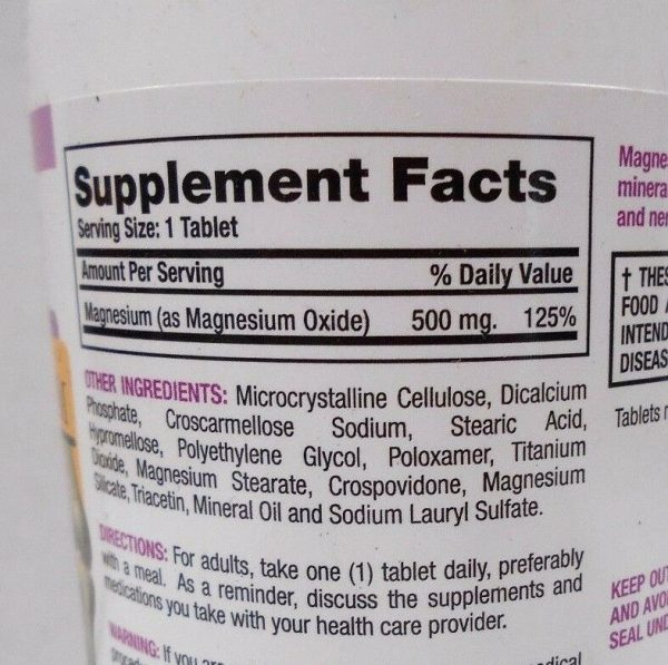 Major Magnesium 500mg 100ct Tablets -Expiration Date 07-2022 1