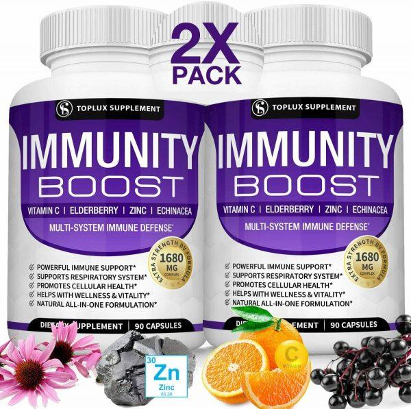 PREMIUM Immune System Booster (180 CAPSULE) Vitamin C +Zinc+Elderberry+Echinacea
