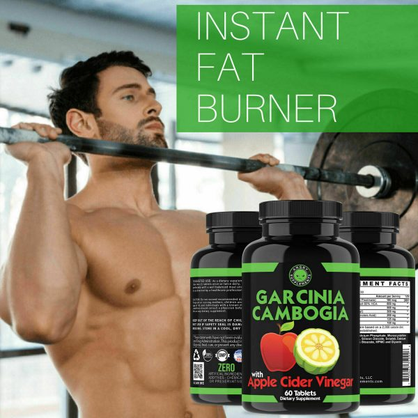 Weight Loss Garcinia Cambogia w/ Apple Cider Vinegar & CLA, ACV Fat Burner Pills 10