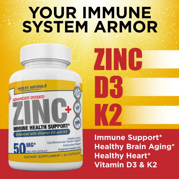 Zinc Picolinate 50 mg + Vitamin K2 (MK7) + Vitamin D3 Zinc Picolinate Supplemens