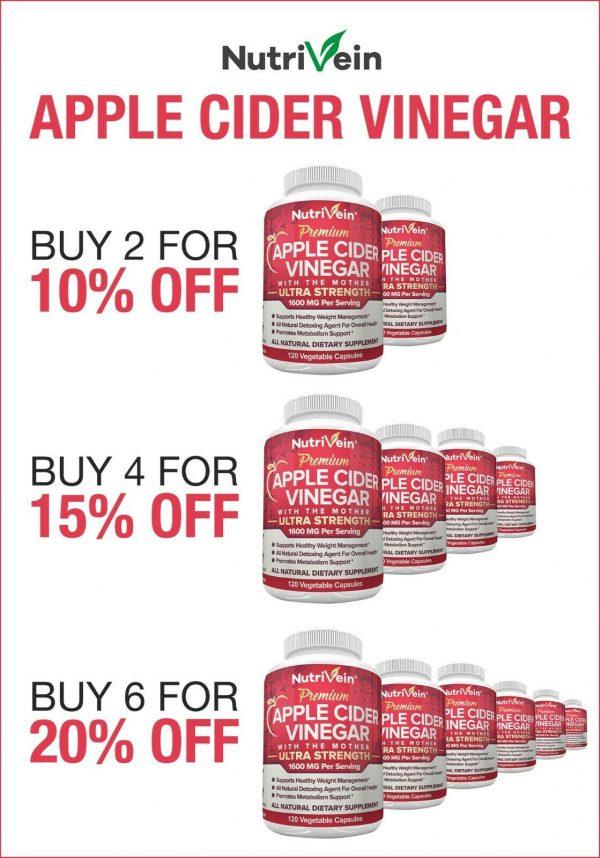 Nutrivein Apple Cider Vinegar Capsules with Mother 1600mg - 120 Pills - Detox  9