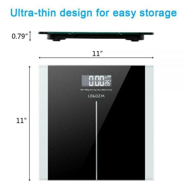 400lb Digital Body Weight Scale Bathroom Fitness Backlit LCD 180kg + 2 Battery 6