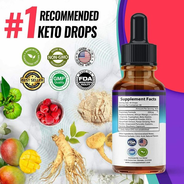Keto Diet Shred Drops (2 PACK) Ketosis Weight Loss Supplement Fat Burn Carb Bloc 7